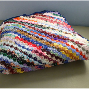 Afghan Multi Colored Diagonal Stripes Extra Large Warm Crochet ON SALE