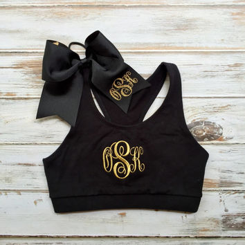Monogrammed Sports Bra and Cheer bow Monogrammed Gifts Girls Teens Women Cheer Gymnastics Dance
