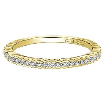 14K Yellow Gold Half Bezel Round Diamond Stackable Ring