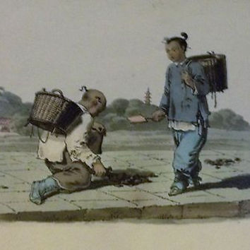 c1914 Antique hand-coloured Steel Engraving Marked China - 9 Boy & Girl in Town