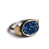 Blue Drusy Oval Sweetheart Ring