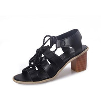 European Style Strappy Peep Toe Lace Up Chunky Heel Sandals Pumps