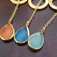 Natural Stone necklace pendant necklace with opal drop shape charm