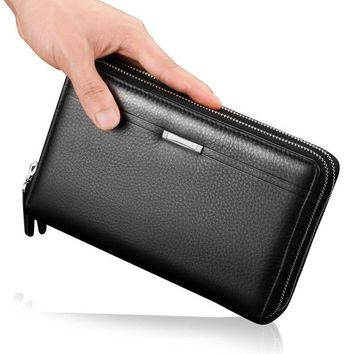Men's Leather Double Zip Clutch ID Card Holder Checkbook Business Wallet Purse