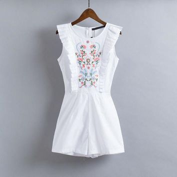 DCCKU62 New Ruffles Sleeveless White Color Jumpsuits Women 2017 Summer Embroidery Jumpsuits Women Vintage Slim Playsuits Female