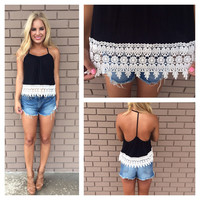 Crochet Ribbed T-Back Tank - BLACK