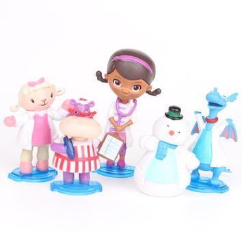 5pcs/set Doc McStuffins Toy Hospital Doc Girl Lambie Lamb Stuffy Dragon Chilly Snowman Hallie Hippo Figure Set Kids Toys Gifts