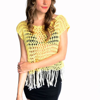Crochet Top Tee Festival Hippie Boho Fringe // Festival Fringe Tee in Ray of Light and Papyrus // Many Colors Available
