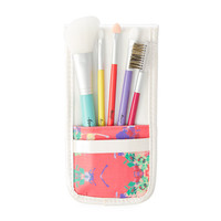 Tropical Floral Print Case and Makeup Brush Set