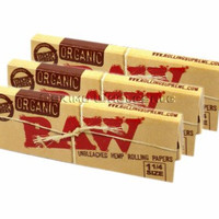 RAW Organic Unbleached HEMP 1¼ Rolling Papers 3 Pack