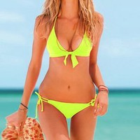 Neon Lime Halter Top & Side-tie Bottom