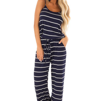Navy Blue Striped Spaghetti Strap Jumpsuit with Waist Tie