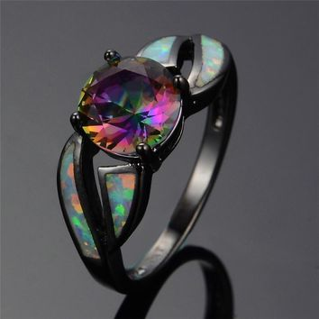Black Gold Filled Mystic Cubic Zirconia Fire Opal Ring