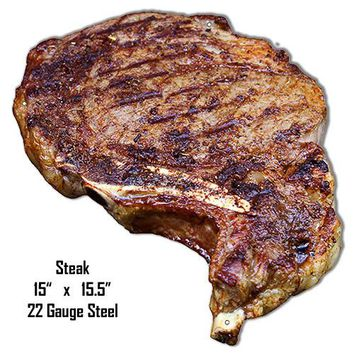 Steak Laser Cut Out Wall Art Metal Sign 15″x15.5″