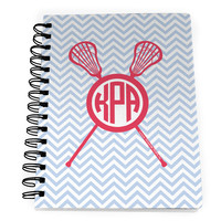 Girls Lacrosse Notebook Monogram with Crossed Sticks and Chevron Pattern