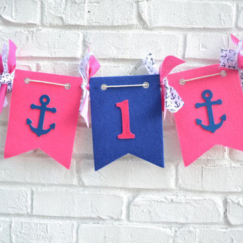 Nautical Birthday - 1st birthday banner - girl birthday banner - nautical girl birthday - nautical 1st birthday banner - 1st birthday prop