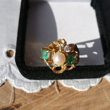 Graduation Gift For Daughter Jewelry, Rose Pearl and Emerald Ring, Diamond Gold Engagement Ring, Emerald Ring, Pearl Ring, Diamond Ring