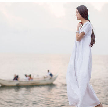 White Beach Dress, Summer Holiday Trip, Maxi Linen Dress.
