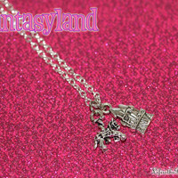 Fantasyland Charm Necklace with a Castle and Carousel Horse Charms One of the Disneyland Original Lands