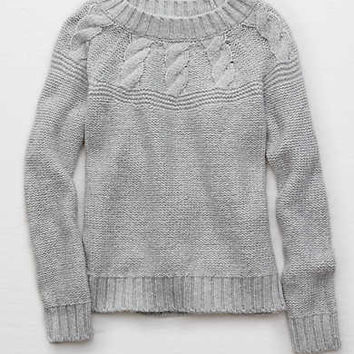 Aerie Cable Pullover Sweater, Light Heather