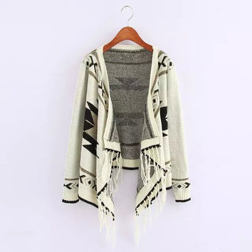 Geometric Print Long-Sleeve Fringed Knit Cardigan