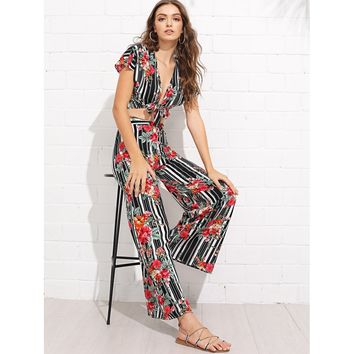 Multicolor Knot Front Floral Print And Striped Top Pants Set
