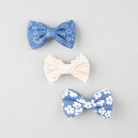 Full Tilt 3 Pack Crochet/Denim Bow Clips Denim One Size For Women 25156680001