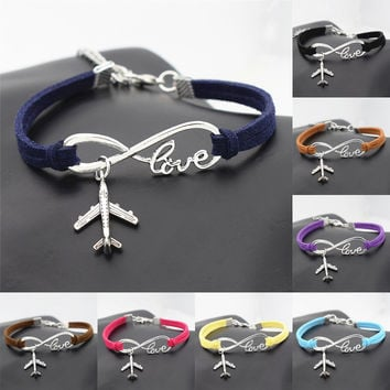 New Personality Aircraft Men's Gift Women's Casual Antique Silver Plane Charms Airplane Pendants Infinity Love Leather Bracelets