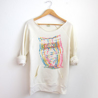 CMYK Owls HAND STENCILED Deep Scoop Neck Heather by twostringjane