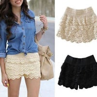 Korean Fashion Womens Sweet Cute Crochet Tiered Lace Shorts Skorts Short Pants