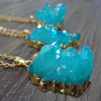 Aqua Aura Quartz Crystal Point Multi Terminated Raw Cluster Gold Pendant Necklace/Modern Boho/