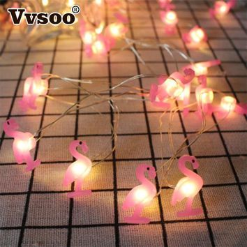 Vvsoo 2M LED Flamingo String Light Unicorn Decoration 20 Lights Pineapple Party Baby Shower Wedding Bedroom Decor Lights