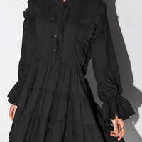 Black Ruffle Dress with  Long Sleeves