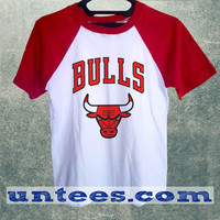 Chicago Bulls Basic Baseball Tee Red Short Sleeve Cotton Raglan T-shirt