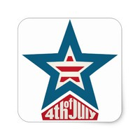 4th of July Star Square Sticker