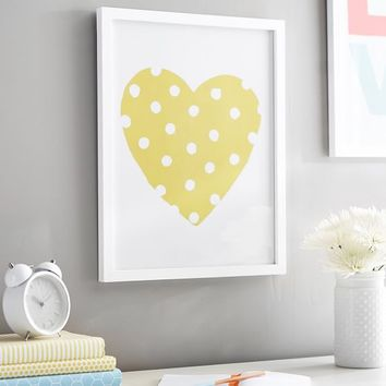 Yellow Dottie Heart Gallery Frame