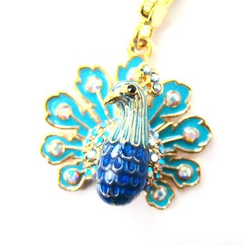 Colorful Peacock Bird Animal Pendant Necklace | Limited Edition Animal Jewelry