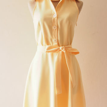 DOWNTOWN - Yellow Shirt Dress, Pastel Yellow Bridesmaid Dress, Midi Dress, 1950 Inspired Dress, Yellow Summer Dress, XS-XL,Custom