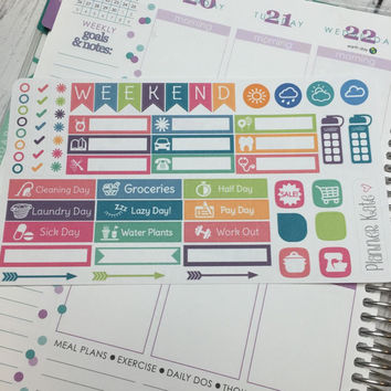 S105 TRY ME SAMPLER Stickers for Erin Condren Life Planner - Removable Matte Stickers