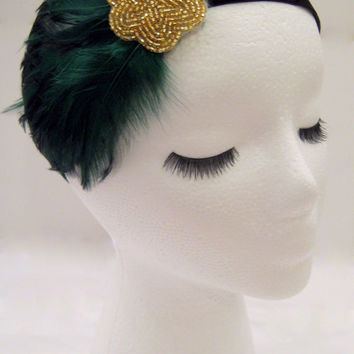 The Lucille - dark green feather fascinator, green Gatsby headpiece, green 1920s headband, green gold 1920s hair accessory, adult headband