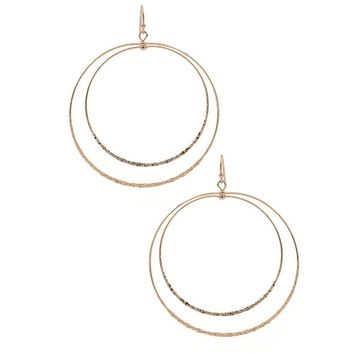 Layered Hammered Hoop Earrings | 3 Colors