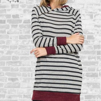 Asymmetrical Zip Striped Sweater Tunic - Small or Medium