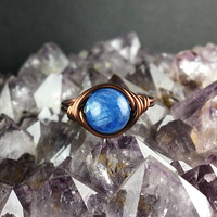 Kyanite ring, Kyanite jewelry, blue gemstone ring, blue kyanite ring, wire wrapped ring, wire ring, copper ring, custom ring, Kyanite stone