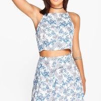 Jennie Blue Floral Woven Crop & Mini Skirt Co-Ord