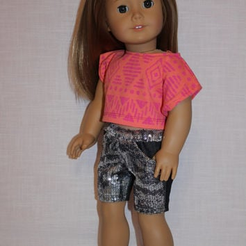 18 inch doll clothes, tribal print off the shoulder tee shirt, denim shorts with front sequin overlay, american girl ,maplelea