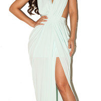 'Lavan' Pastel Blue Draped Maxi Dress