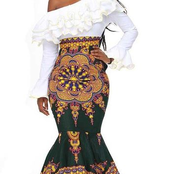 African Batik Print Single-Shoulder Bodycon Dress