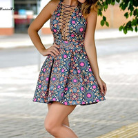 ≫∙∙Floral Summer Fashion Front Tie Up Skater Sexy Colorful Dress ∙∙≪