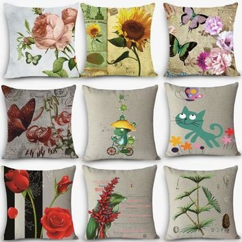 "Hot Sale home deco pillow flower bird Print Home Decorative Cushion Throw Pillow 18"" Vintage Cotton Linen Square Pillows MYJ-B9"