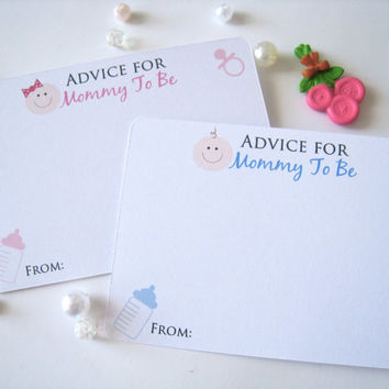 Advice for mommy to be, baby shower cards, baby shower game cards, advice for new mommy - 25 count